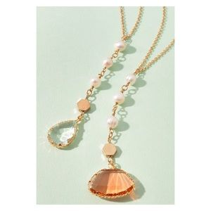 New! Semi Precious Dangling Crystal Necklace